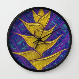 Heliconia, Golden Yellow & Purple Wall Clock