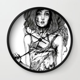 QUO FATA FERUNT // SURREAL PORTRAIT ILLUSTRATION Wall Clock