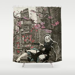 two piece shoot out in neo tokyo... by rmd Shower Curtain