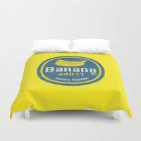 sticker Duvet Covers featuring Banana Sticker On Yellow by Karolis Butenas