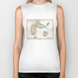 Vintage Map of Guadeloupe (1780) Biker Tank