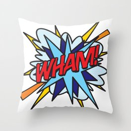 Comic Book Pop Art WHAM Throw Pillow