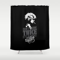 dylan Shower Curtains featuring Bob Dylan by JaimieHallarn