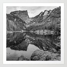 Dream Lake and Hallet Peak - Monochrome Art Print