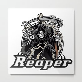 Illustration of grim reaper on white background Metal Print