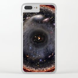 Observable universe logarithmic illustration Clear iPhone Case