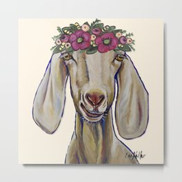 Goat Art, Margot the Goat with flower crown Metal Print