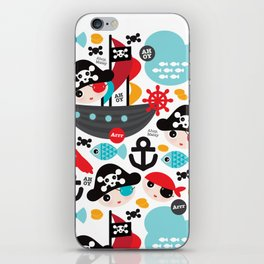 Cute kids pirate ship and parrot illustration pattern iPhone Skin