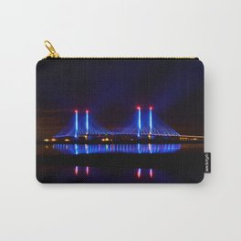 The Indian River Inlet bridge reflecting off the bay as beams of blue light penetrate the night sky Carry-All Pouch