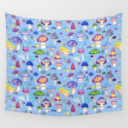 Watercolor Mushroom Pattern on Blue Wall Tapestry