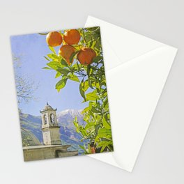 Oranges, Blue Sky, and Mountains in Northern Italy Stationery Cards