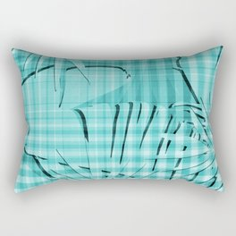 Turquoise Tropical Leaves Plaid Design Rectangular Pillow