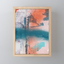 Poetry [1]: a vibrant abstract mixed-media painting in teal and pink by Alyssa Hamilton Art Framed Mini Art Print