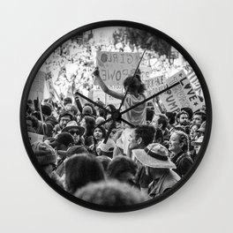 Girl Power in a Crowd - Women's March Street Photography, Los Angeles 2017 Wall Clock