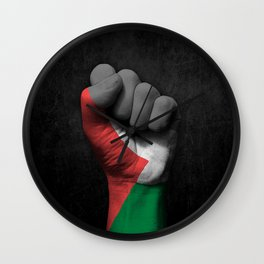 Palestinian Flag on a Raised Clenched Fist Wall Clock