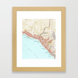 Vintage Map of Laguna Beach California (1965) Framed Art Print