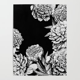 FLOWERS IN BLACK AND WHITE Poster