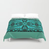 malachite Duvet Covers featuring Malachite in its rough form by BURPdesigns