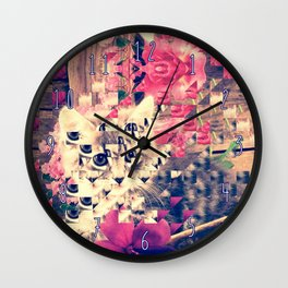 SWEET KITTEN WITH FLOWERS (TRIANGLES) Wall Clock
