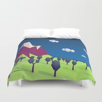 low poly Duvet Covers featuring Low-Poly Mountain by Jorge Antunes