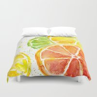 fruit Duvet Covers featuring Fruit Watercolor by Olechka