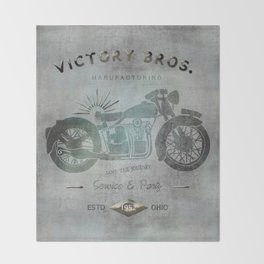 Motorbike Vintage Grunge Poster Throw Blanket