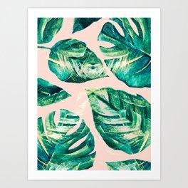 Leaf watercolor pastel Art Print
