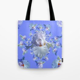 BLUE-WHITE IRIS ABSTRACT PATTERN Tote Bag