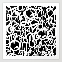 Black and White Graffiti Pattern Art Print