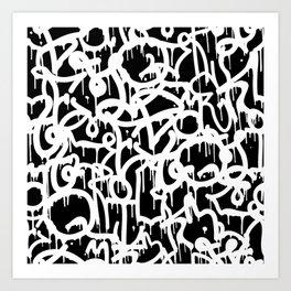 Black and White Graffiti Pattern Kunstdrucke