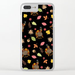 Thanksgiving Turkey pattern Clear iPhone Case