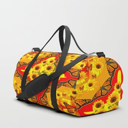 LACY RED-GOLD YELLOW SUNFLOWERS & MONARCH BUTTERFLIES Duffle Bag