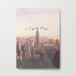 FLAMINGOS IN NEW YORK Metal Print