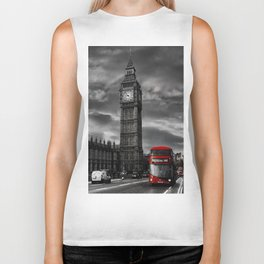 London - Big Ben with Red Bus bw red Biker Tank