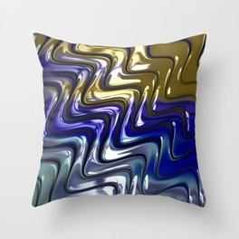 CHASSIS chrome blue gold Throw Pillow