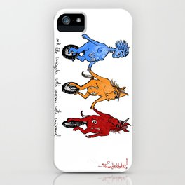 unite! and ride unicycles with unicorns with unibrows! iPhone Case