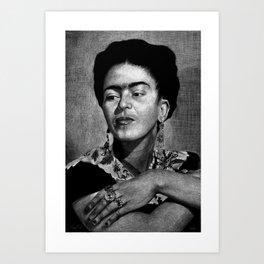 Frida Kahlo in Black and White Art Print