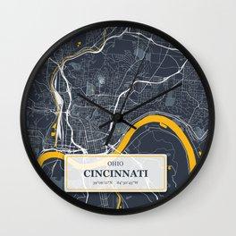Cincinnati, Ohio City Map with GPS Coordinates Wall Clock