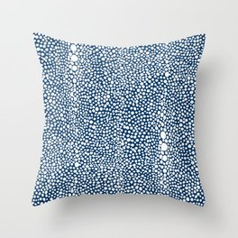 Shagreen White on Navy Throw Pillow