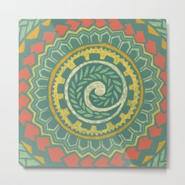 Retro Colorful 60s 70s Polynesian Tattoo Mandala Pattern - Vintage Green Metal Print