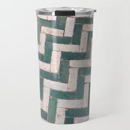 Moroccan floor tiles in green and white chevron Travel Mug
