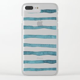 Slate Blue Rugby Stripes Clear iPhone Case