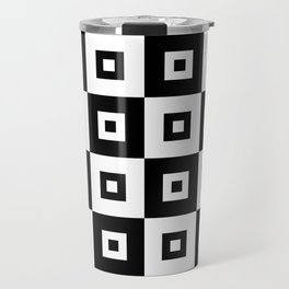 Black and White Squares 2 Travel Mug