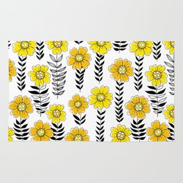 Doodle flowers in yellow and black Rug