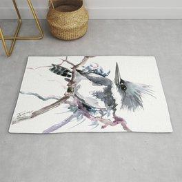 Belted Kingfisher, Gray design, Gray design Rug