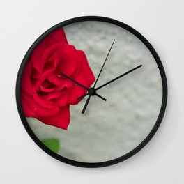 Rose on Stone Wall Clock