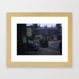 Vintage England * 1950's * Milk Cart * Delivery * Kodachrome * Horse * Car * Kiosk Framed Art Print