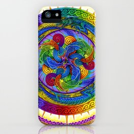 Psychedelic Dragons Rainbow Spirals Mandala iPhone Case