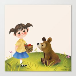Girl Bear And The Basket Canvas Print