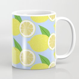 Lemon fruits on blue Coffee Mug